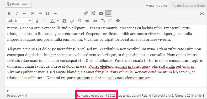 wordpress-automaticke-ukladanie
