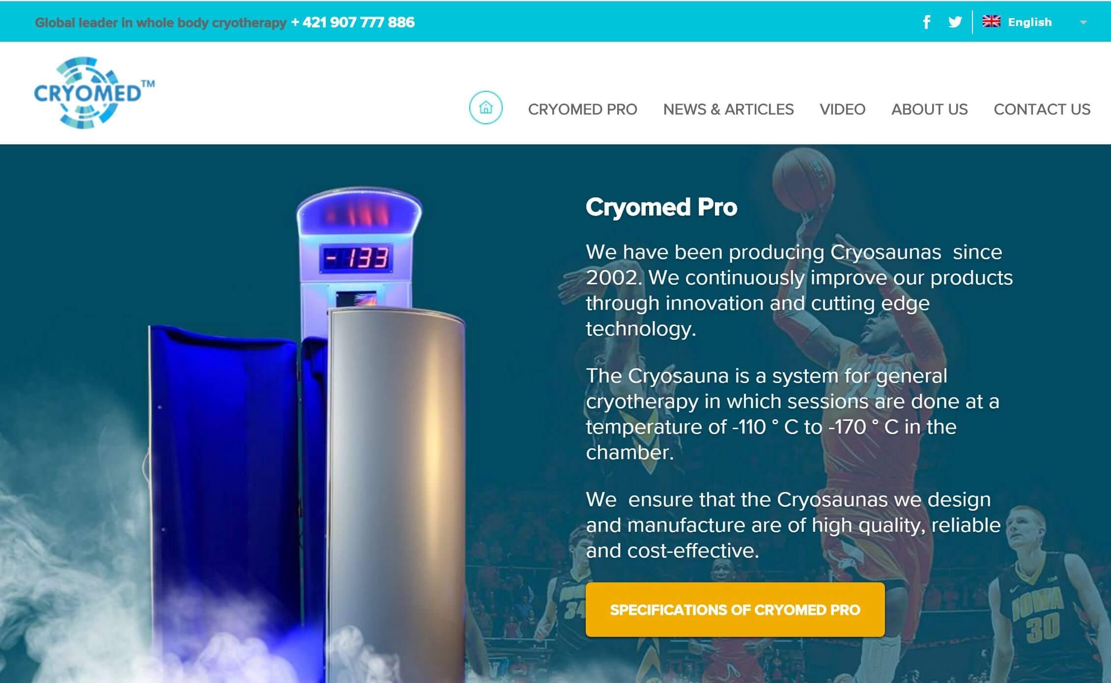 Webstránka Cryomed