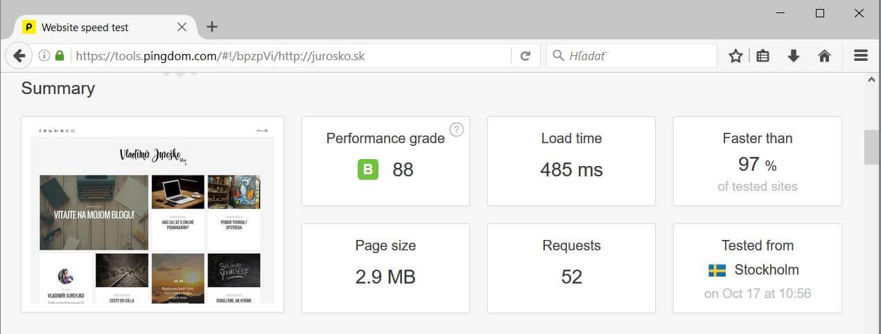 Test rýchlosti web stránky