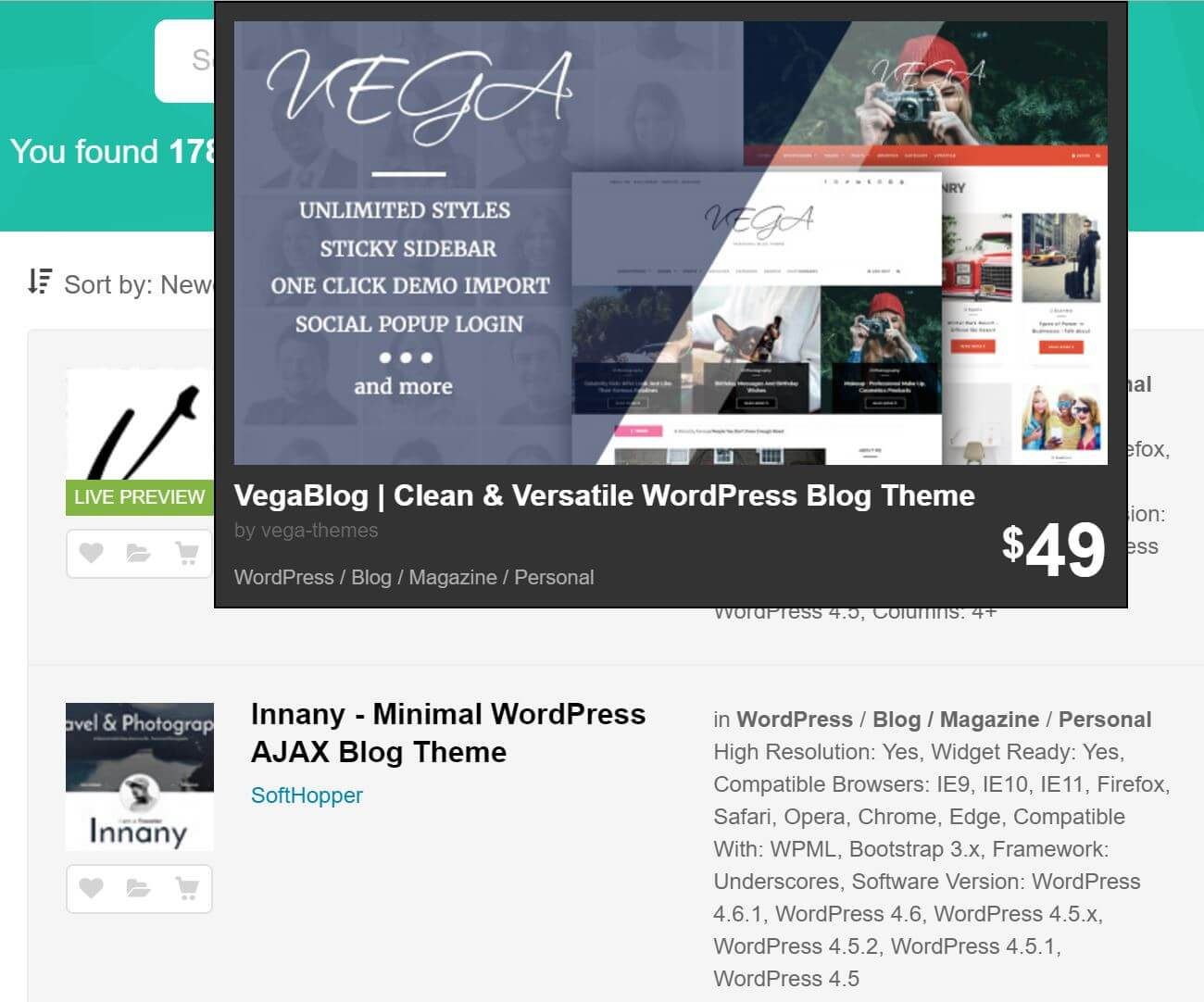 Themeforest - live preview