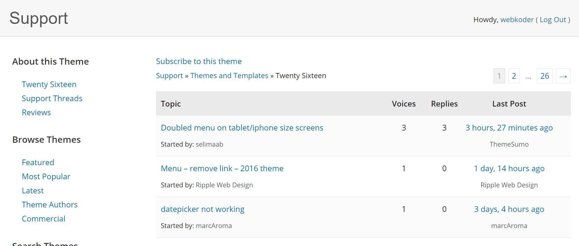 WordPress fórum podpory