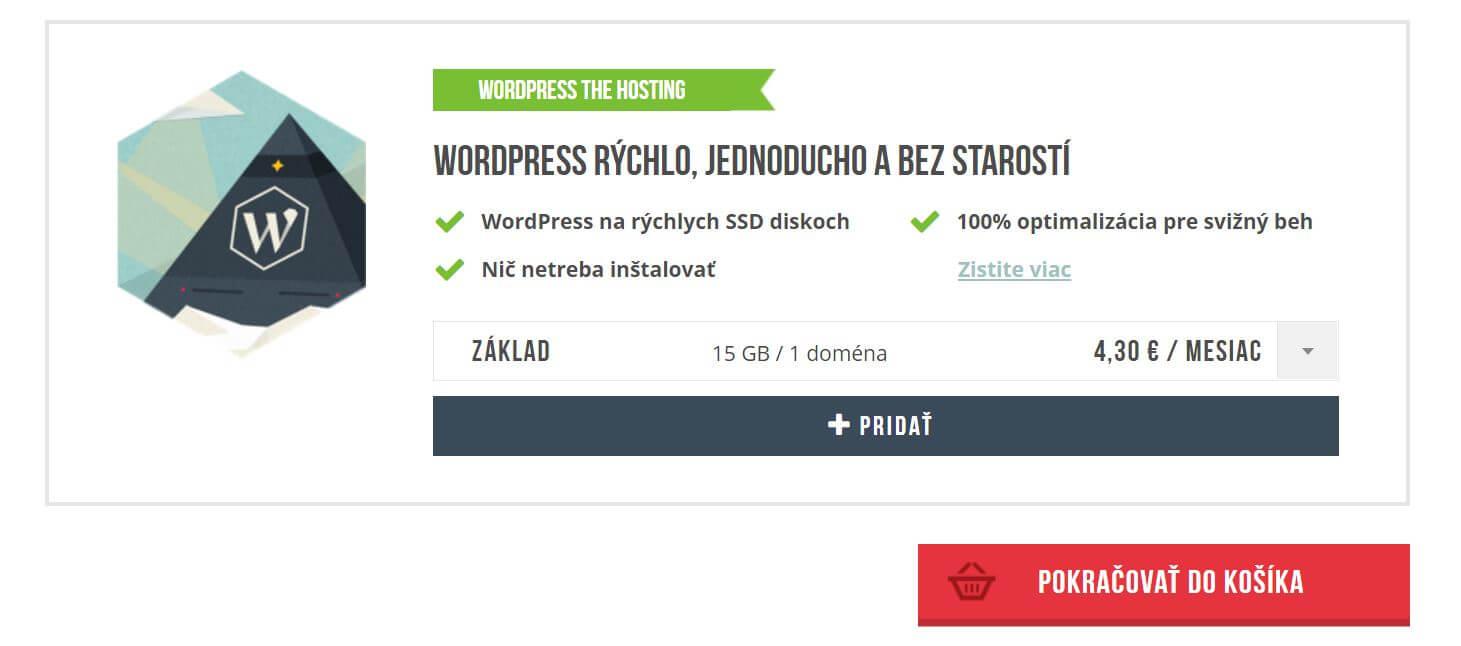 Websupport základný WordPress hosting