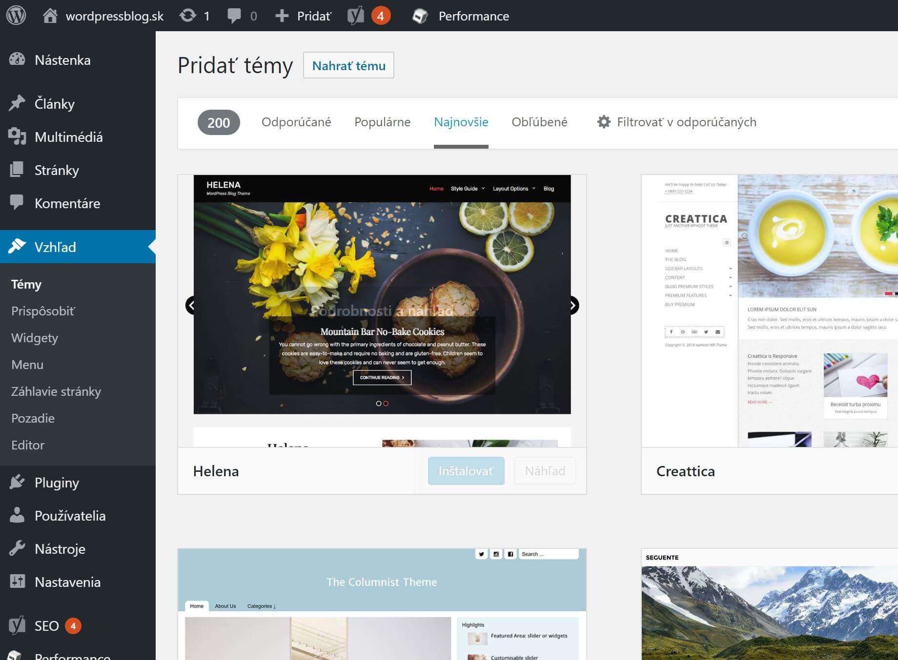 WordPress adresár tém