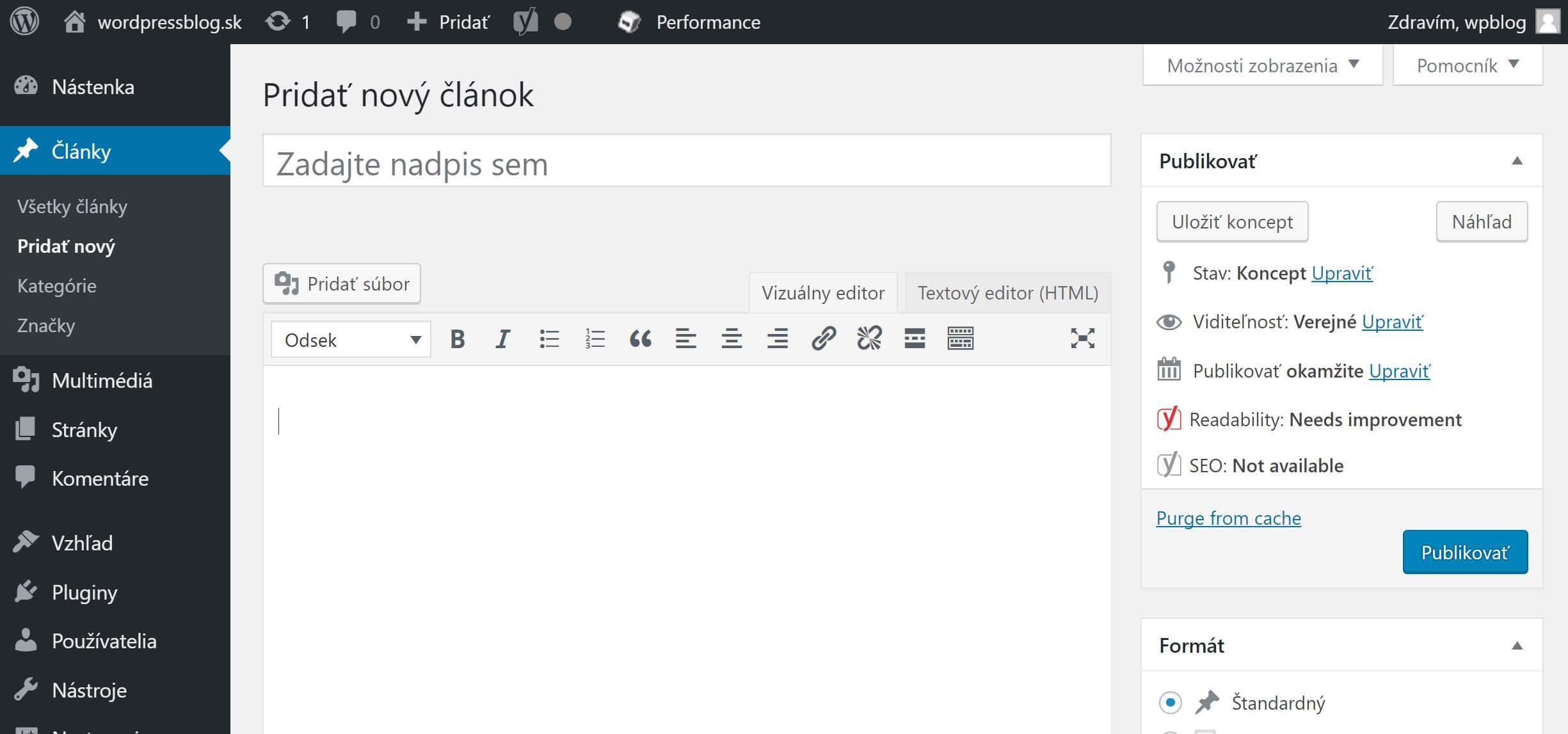 WordPress editor článku