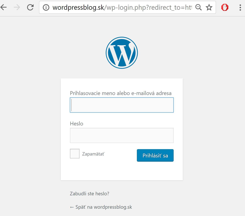 WordPress prihlásenie
