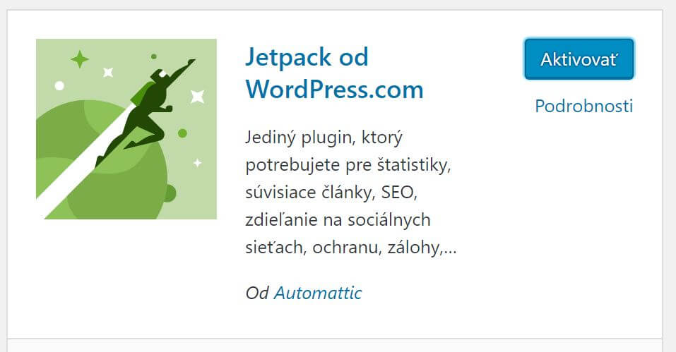 aktivovat jetpack plugin