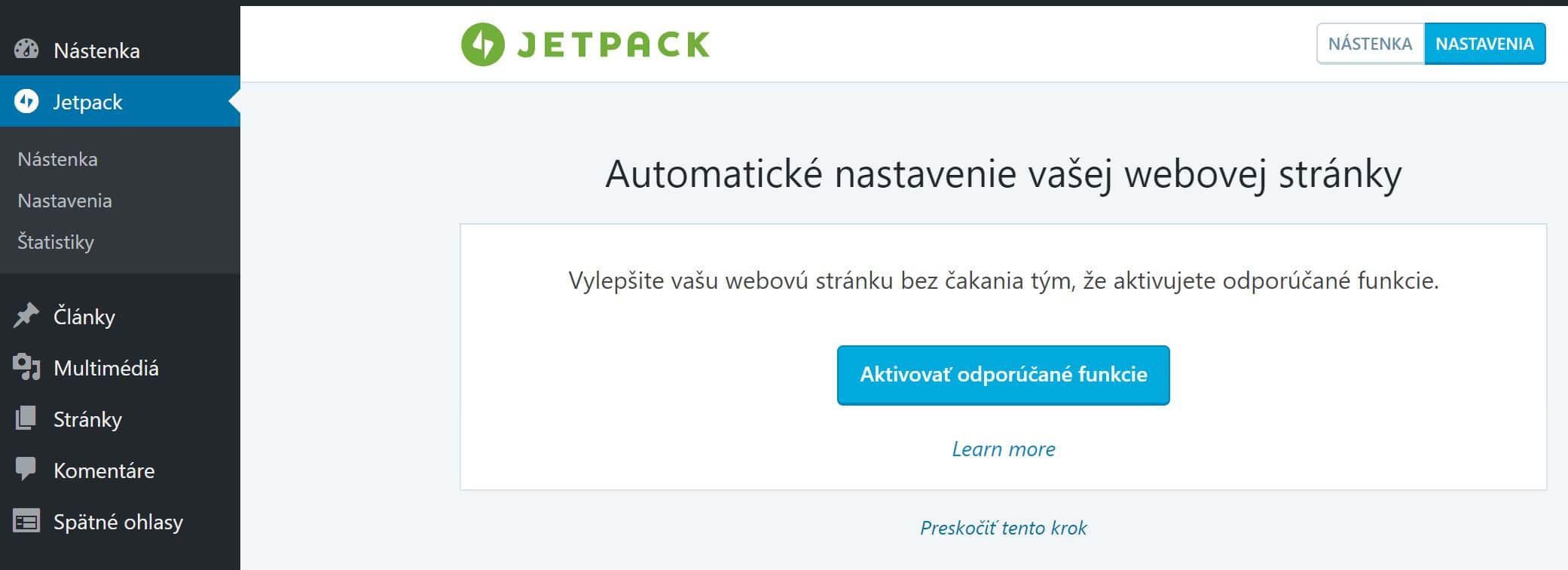 jetpack aktivovat funkcie