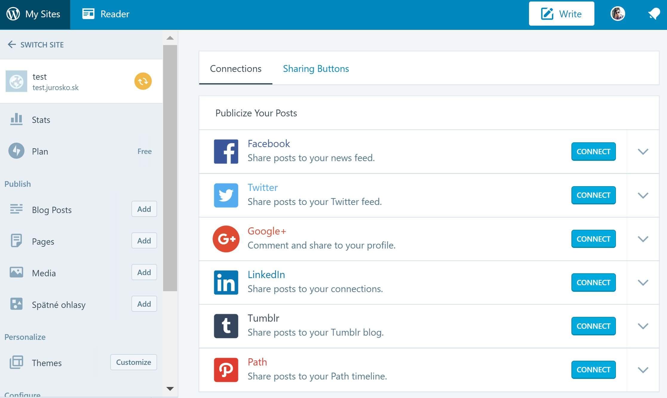 jetpack pripojenie na socialne siete