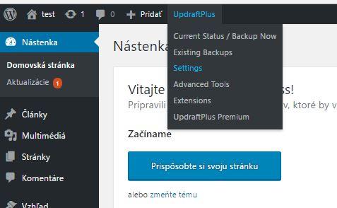 Nastavenie UpdraftPlus pluginu