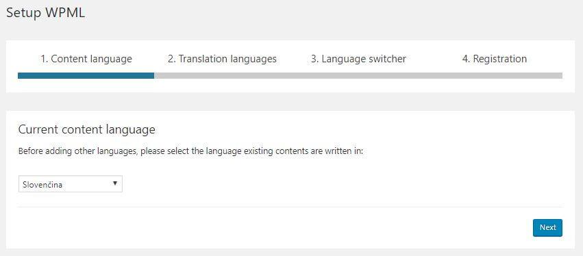 WPML nastavenia jazyka