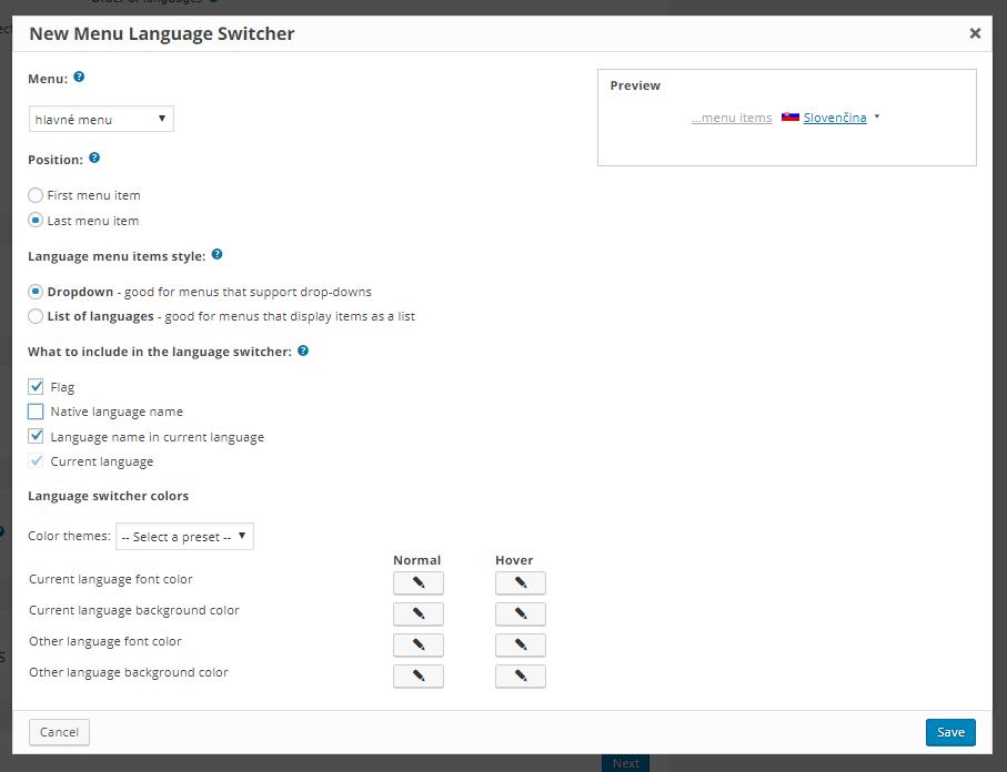 WPML nastavenie prepínača