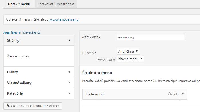 WPML - preložené menu