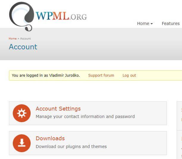 WPML účet