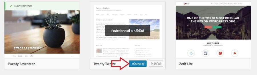 Inštalácia blogovej šablóny zdarma vo WordPresse