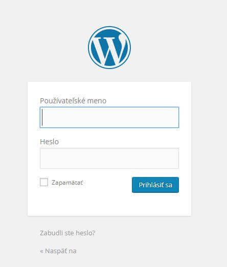 Príhlasenie sa do WordPress blogu