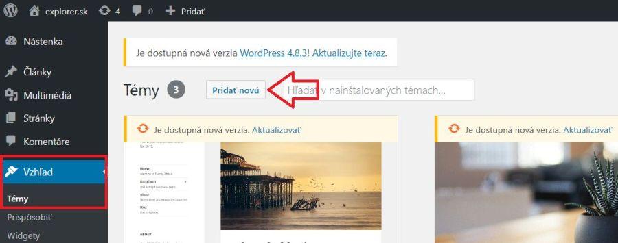 Nainštalovanie WordPress šablóny pri tvorbe blogu