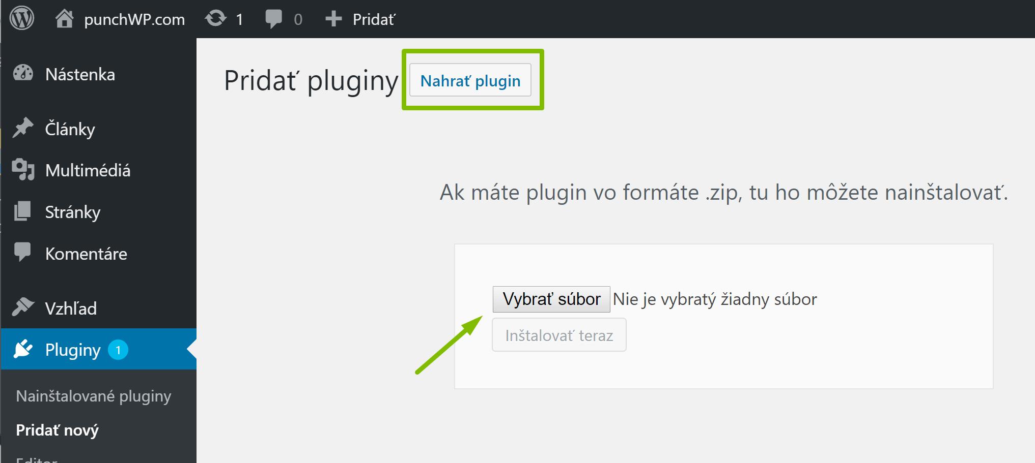 Nahrať plugin