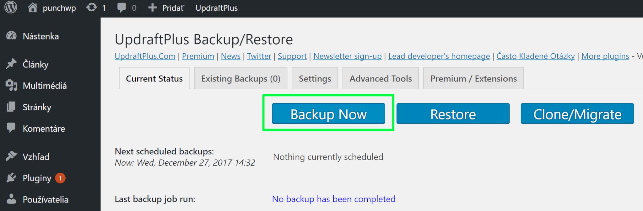 Updraftplus - spustenie zálohovania