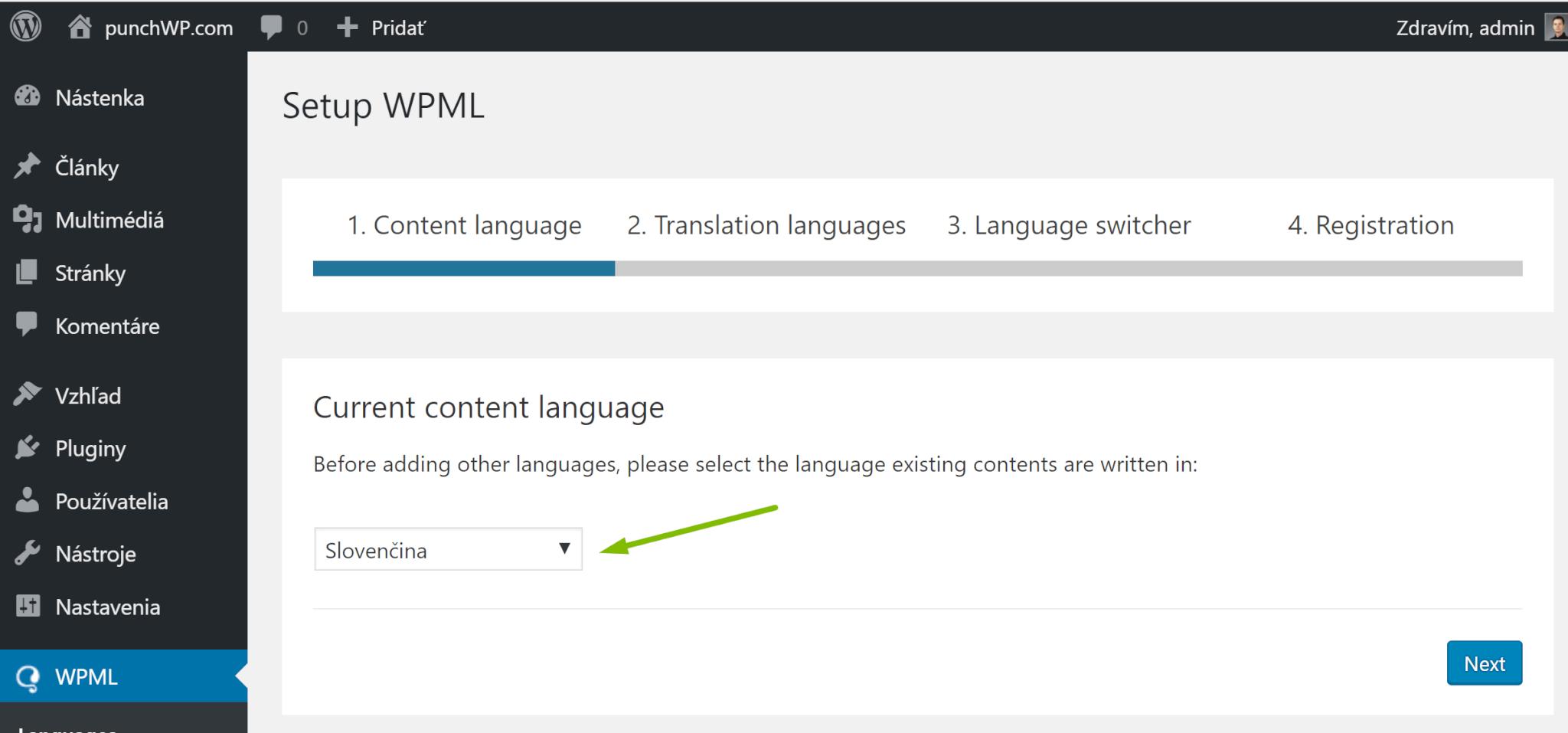 WPML jazyk obsahu