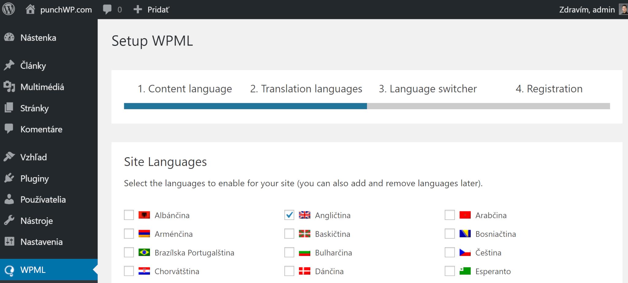 WPML jazyky webstránky