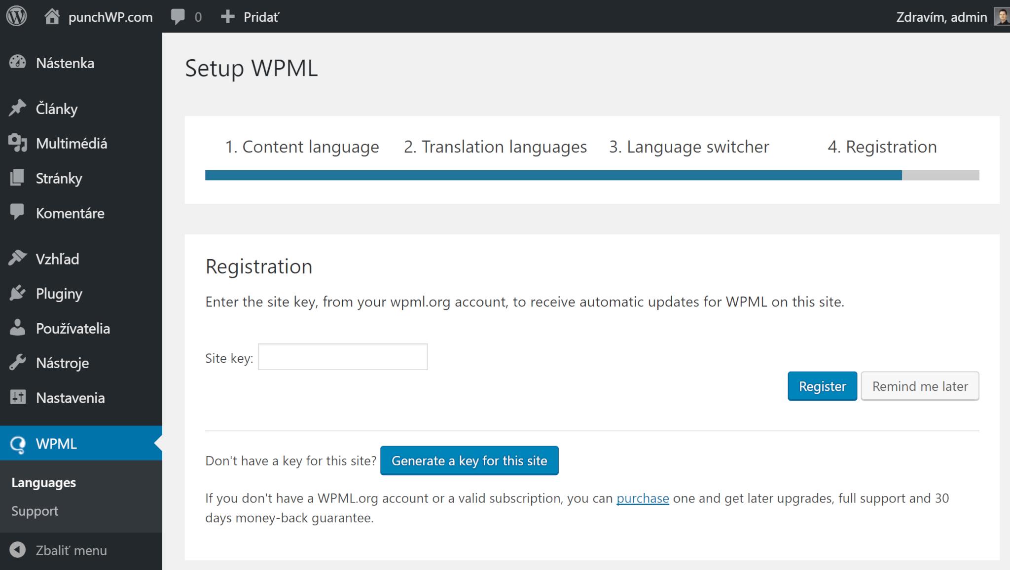 WPML registrácia