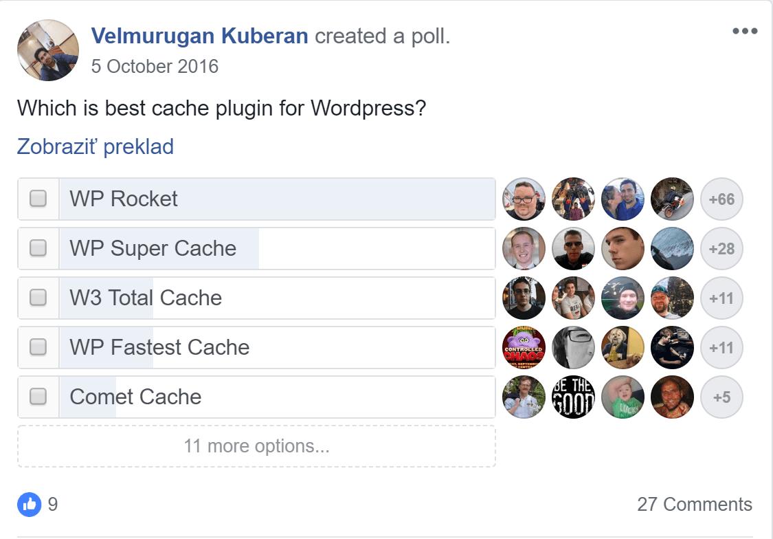 Facebook- hlasovanie o najlepšom WordPress cache plugine