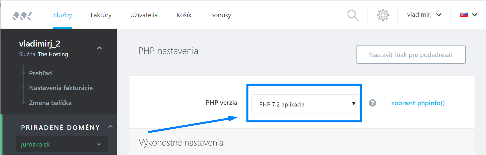 Websupport - nastaviť php7
