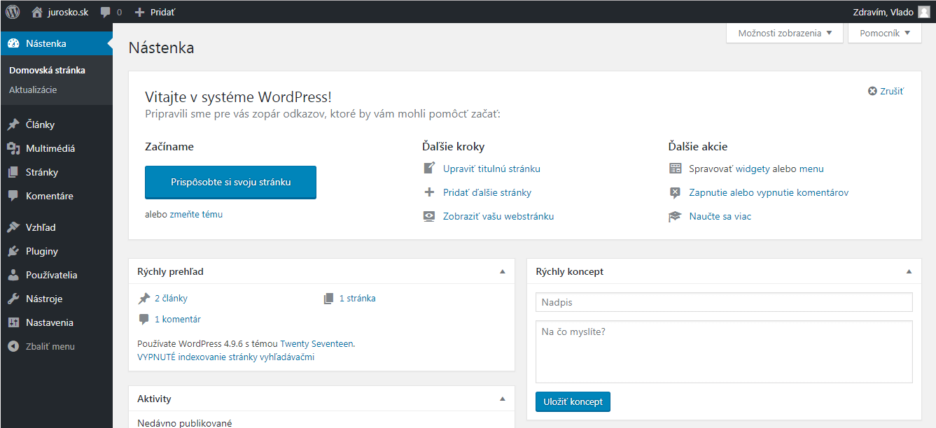 WordPress nástenka (dashboard)