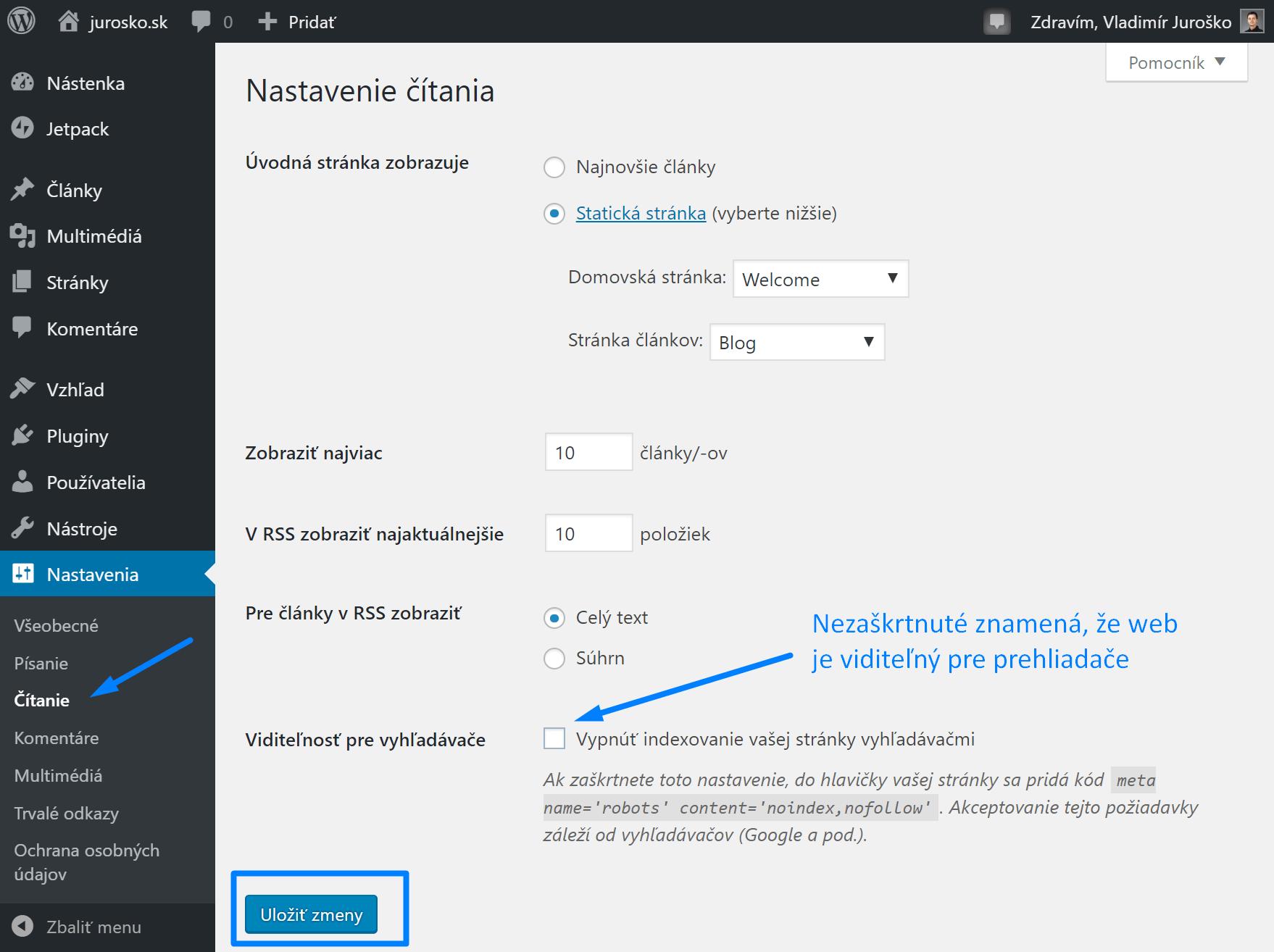 WordPress ako zapnúť indexovanie