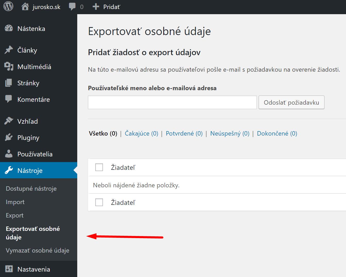 wordpress ako exportovať osobné údaje