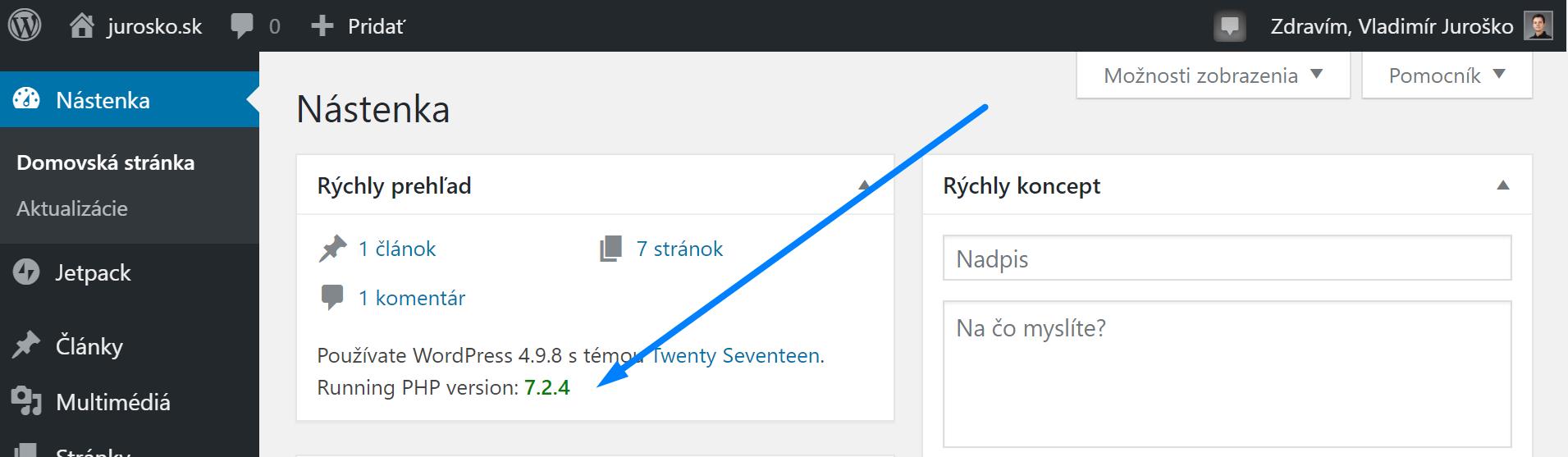 WordPress - ako zistiť verziu PHP