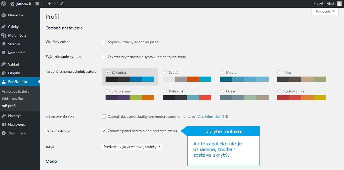 Ako schovať toolbar WordPress