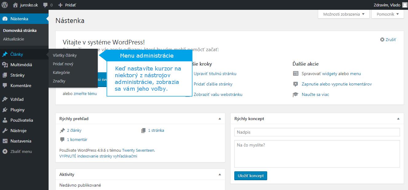 WordPress administrácia