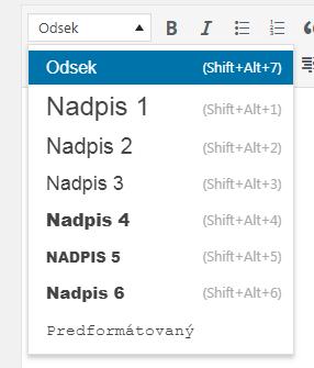 WordPress formáty nadpisov