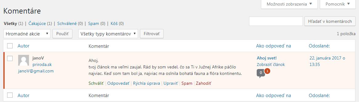 WordPress odmietnutý komentár