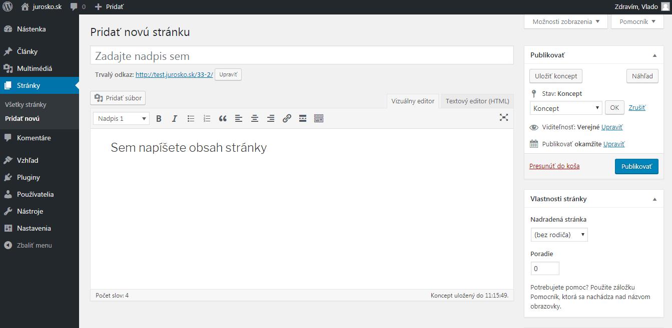 WordPress pridanie stránky
