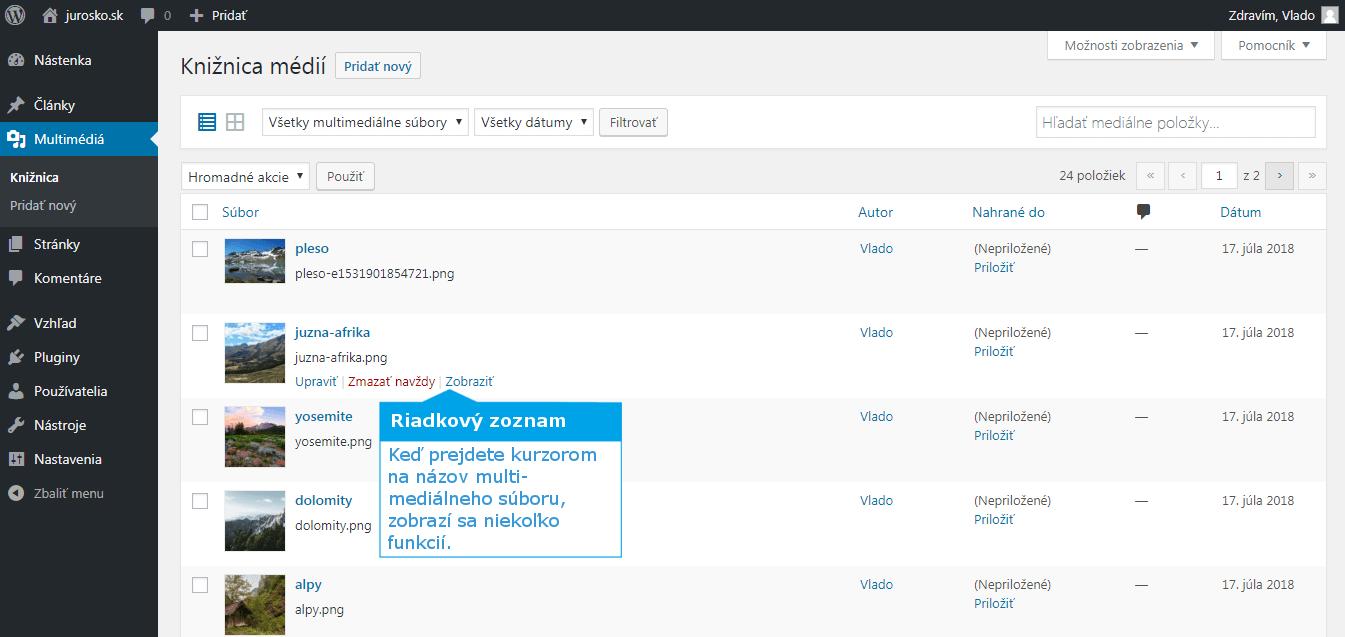 WordPress riadkový zoznam knižnice médií
