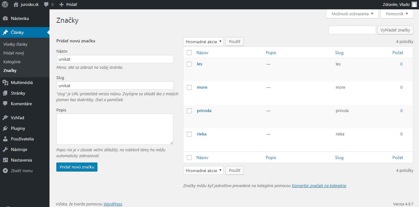 WordPress tag značka