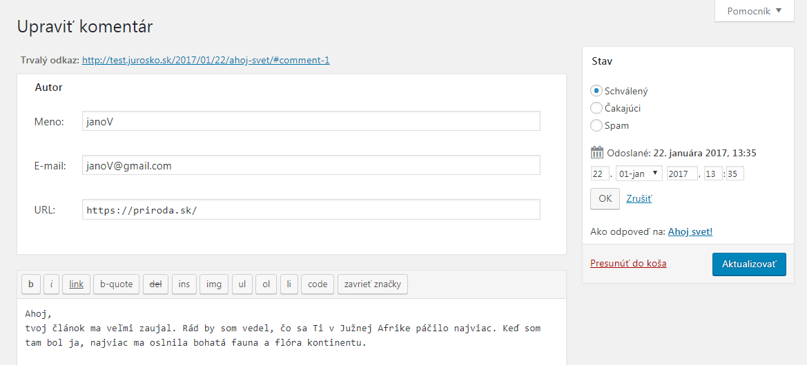 WordPress úprava komentára