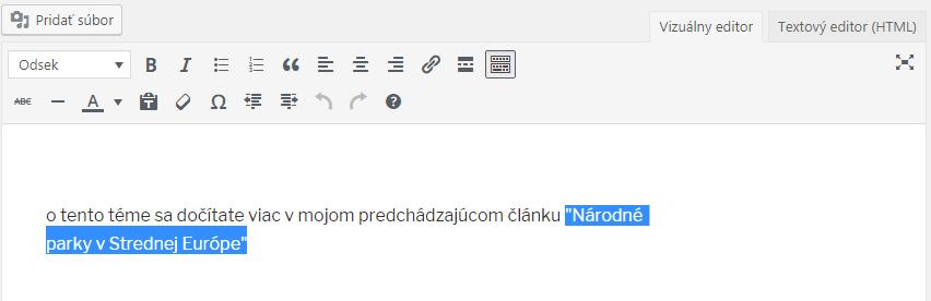 WordPress vloženie html odkazu