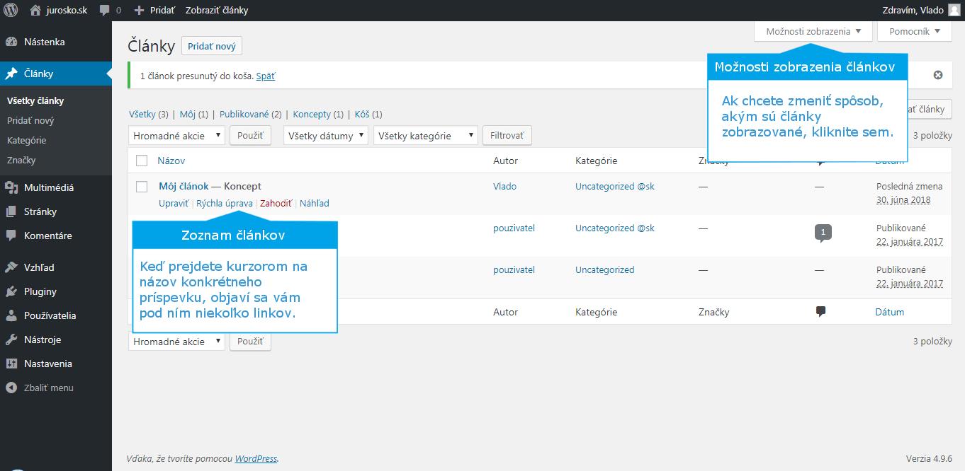 Wordpress zoznam článkov