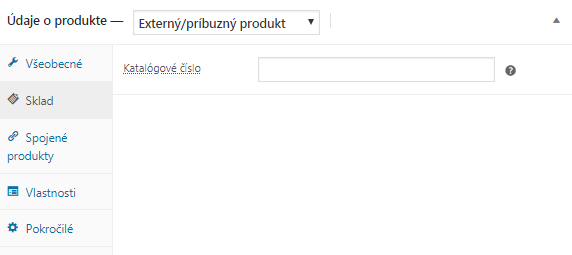 WooCommerce externý produkt sklad