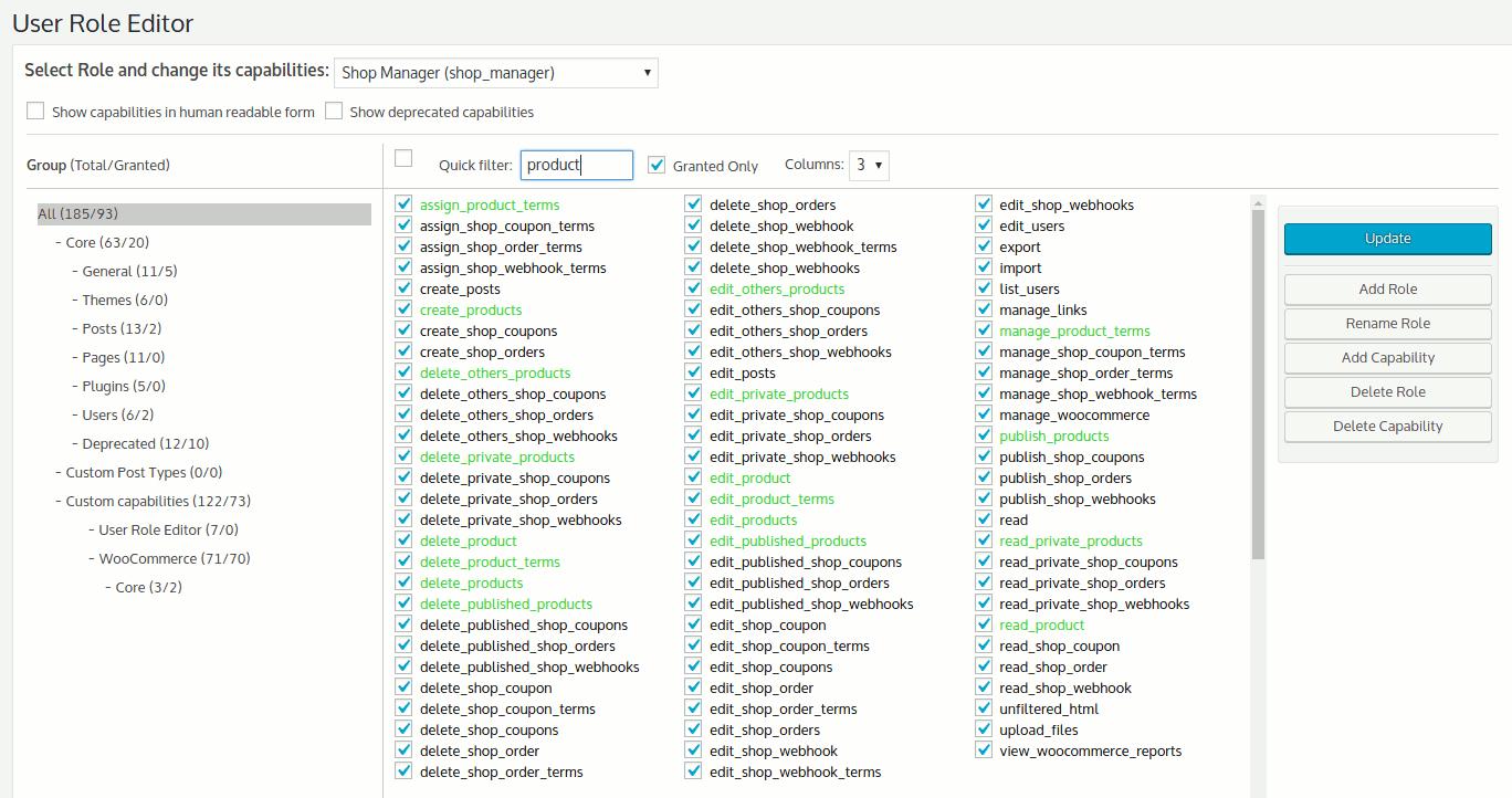 Ukážka nastavovania oprávnení cez plugin User Role Editor