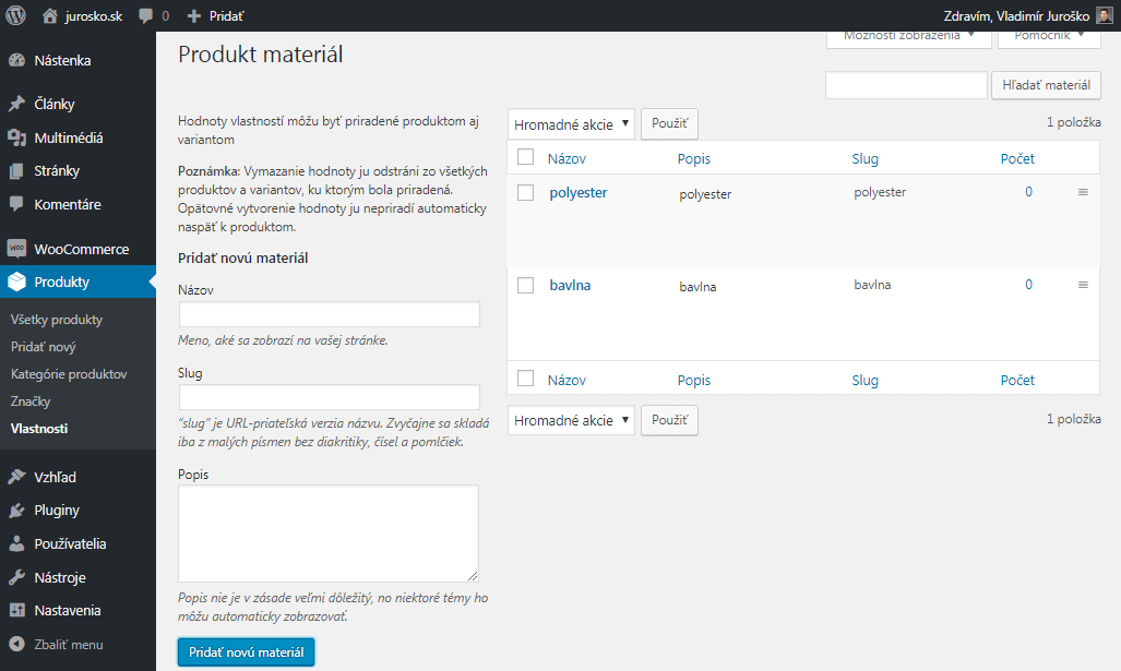 WooCommerce nastavenie hodnoty vlastnosti