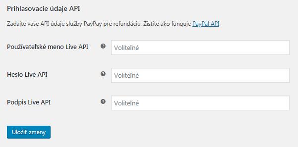 Prihlasovacie údaje API