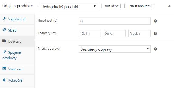 WooCommerce údaje o produkte doprava