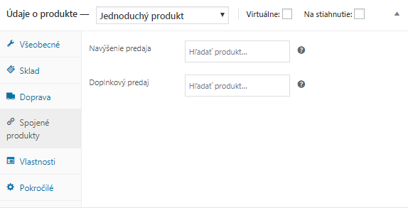WooCommerce údaje o produkte - spojené produkty