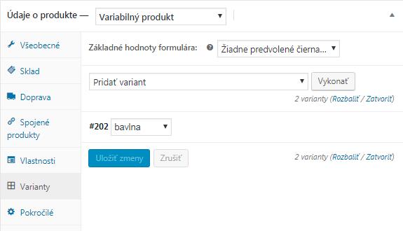 WooCommerce varianty variabilného produktu