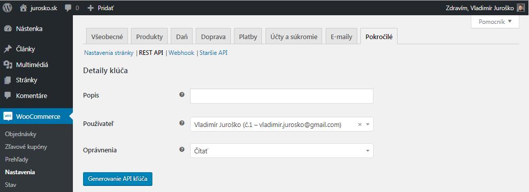 WooCommerce detaily API kľúča