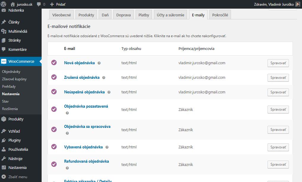 WooCommerce zoznam e-mailov
